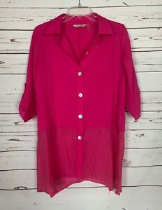 Soft-Surroundings-Women-039-s-S-Small-Pink-Button-3-4-Sleeve-Spring-Tunic-Top-Blouse