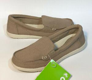 Crocs Womens Walu II canvas loafer shoes Size 6 khaki//Stucco OR Black//Graphite