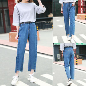 Retro-Women-BF-High-Waist-Denim-Casual-Loose-Pants-Straight-Wide-Leg-Nine-Jeans