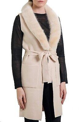 100% Quality Love Token Renee Knit Duster Vest W/ Faux Fur Collar - Lt31-12