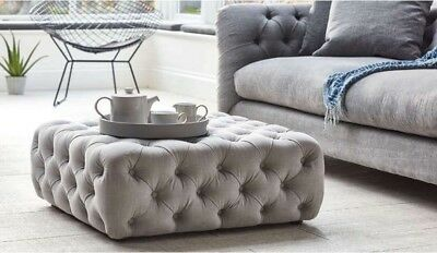 New Chesterfield Style Deep Buttoned Footstoolcoffee Table Ebay