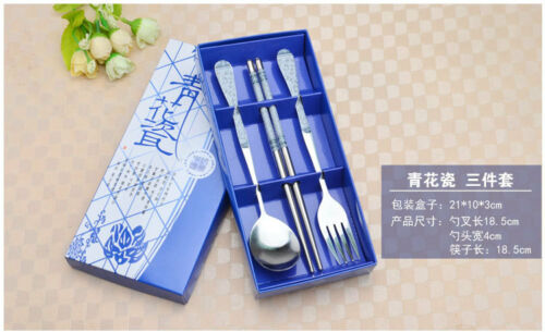 Stainless steel  Tableware Sets Gift Fork+Spoon+Chopsticks Rice Chop Sticks Sets
