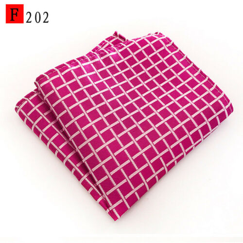 Pink Blue Gold Silver Grid Check Patterned Pocket Square Handerchief