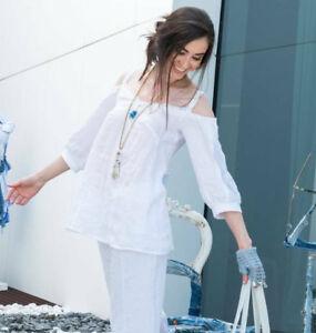 Koll Gr Elisa leinen Neu Off bluse Cavaletti l Weiß Tunika 2019 schoulder Xxx8aR1