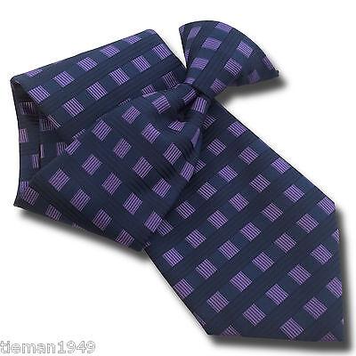 100% Vero Navy Blue Mens Clip Per Cravatta Con Quadrati Viola Cravatta Cucita- Eccellente Nell'Effetto Cuscino