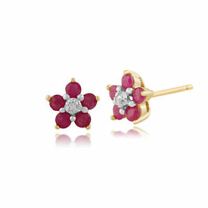 9ct-Yellow-Gold-0-58ct-Natural-Ruby-amp-Diamond-Flower-Stud-Earrings