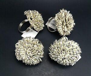 4 Starburst Pearl Napkin Rings Z Gallerie Beaded New