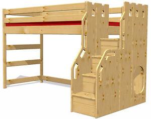Hochbett Mit Komfortabler Sicherheits Treppe Bio Massivholz Inkl