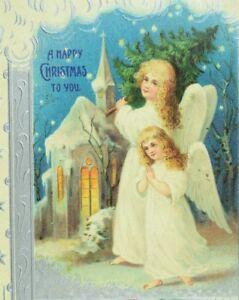 C-1900-10-Embossed-Angel-Tree-Holly-Berries-Happy-Christmas-Vintage-Postcard-F56