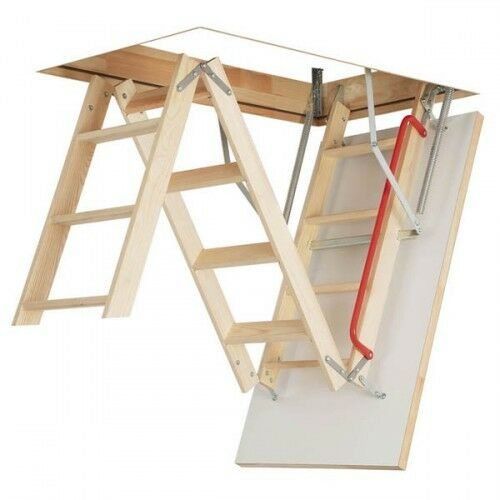 WOOD FOLDING LOFT STAIRS 70x120 KRONMAT Thermo Hatch HANDRAIL + STILE ENDS