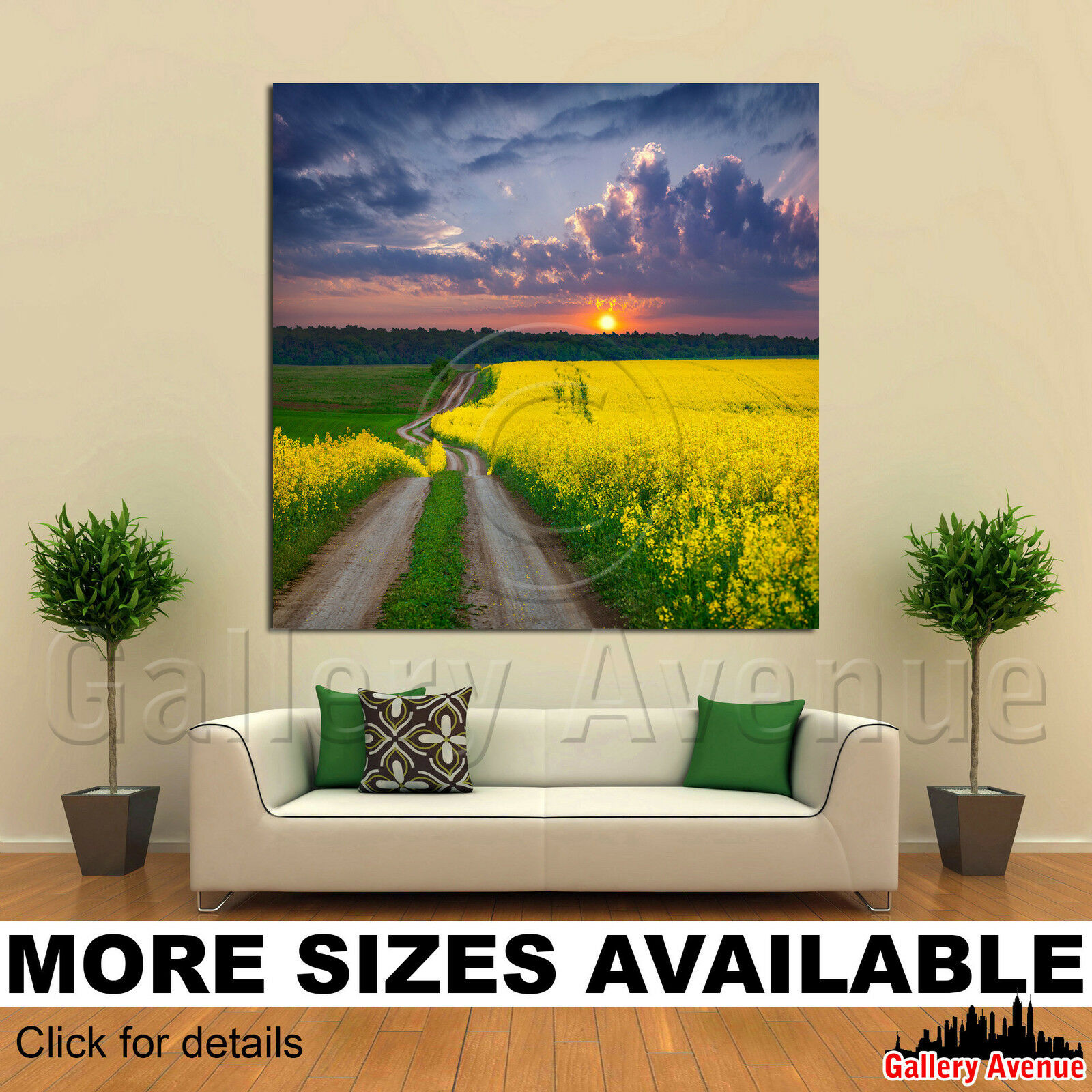 A Wall Art Canvas Picture Print - Road Field Gelb flowers Sunset 1.1