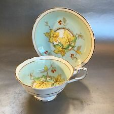 Paragon Mint Green Maple Leaf Bone China Teacup & Saucer Set England Gold