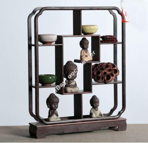 "Chinese brown jichi wood carved put curio stand shelf display 15.2/"" high"