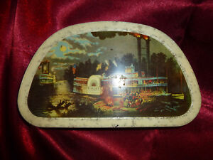 Vintage-EDWARD-SHARP-amp-SONS-Wooding-up-on-the-Mississippi-Princess-STEAMBOAT-TIN