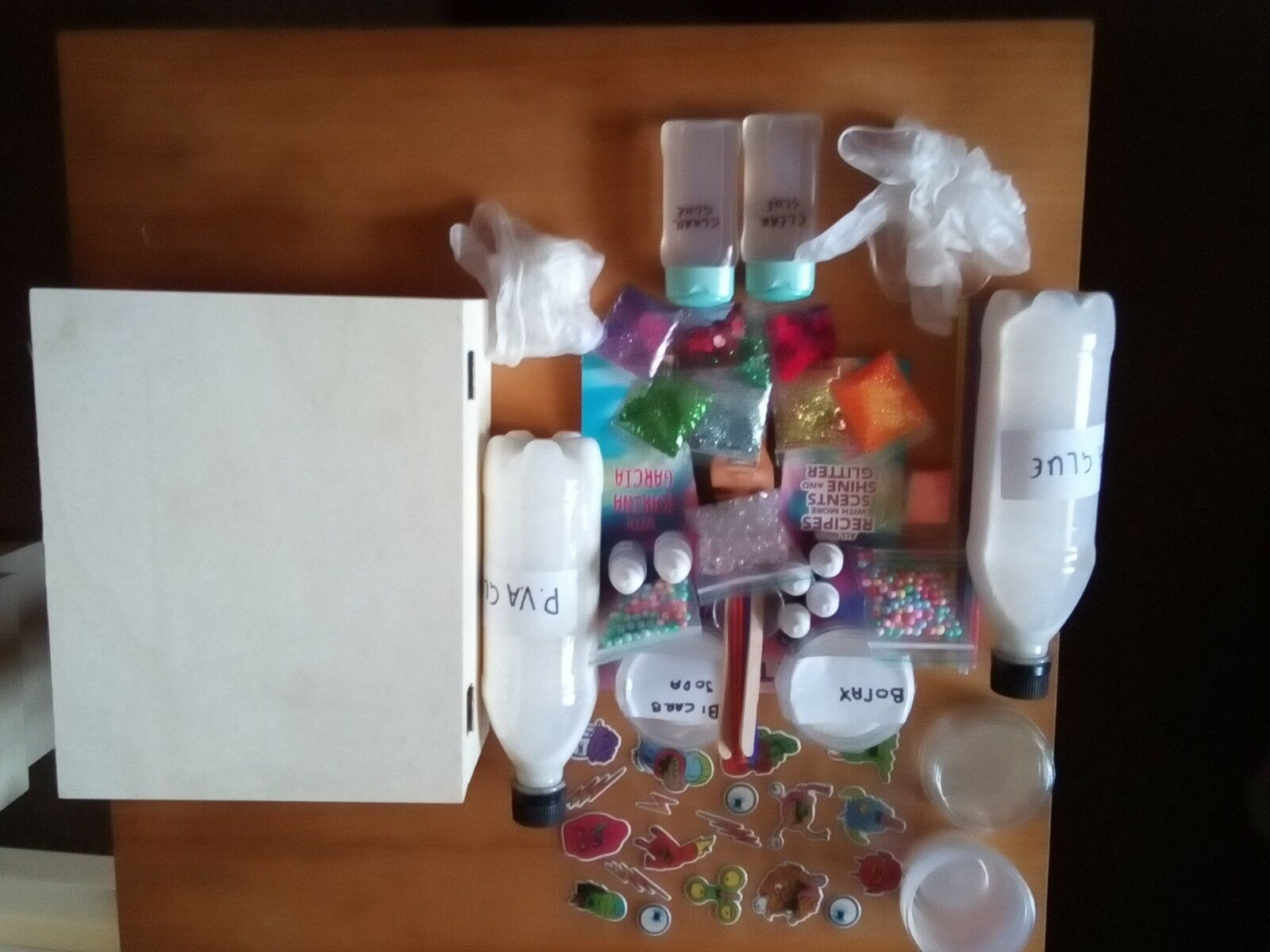 Mega slime kit. Pva and clear glue. Activator, borax. coloring, glitter + more.