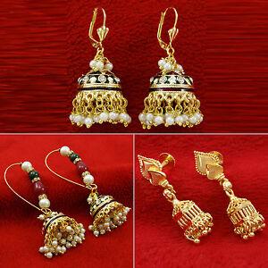 Indian-Ethnic-Goldtone-Dangle-Jhumka-Earring-Set-Traditional-Wedding-Jewelry