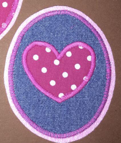 Applikation Aufnäher Herz Patch Knieflicken Flicken Hosenflicken Jeans rosa pink