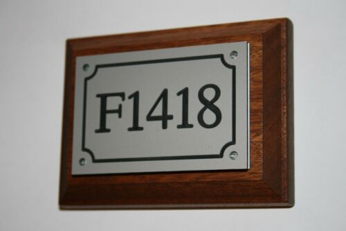 House number sign engraved 225mm x 150mm Arcrylic /& wood