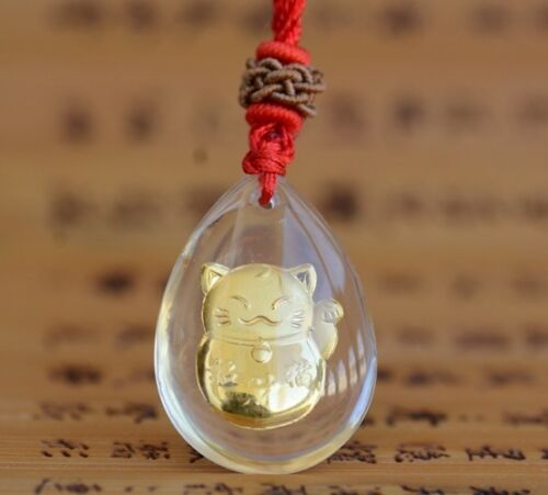 Small Gift 10pcs Gift Fine 24K Yellow Gold /&Crystal Pendant Woman/'s Lucky Cat