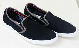 Ben-Sherman-Percy-Mens-Canvas-Sneakers-9M-Black-Slip-On-Shoes-Excellent
