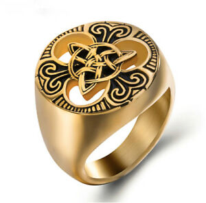 Round-Gothic-Celtic-Knot-Solar-Rune-Norse-Nordic-Viking-Valknut-Gold-Plated-Ring