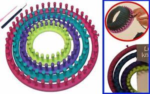 Strickring-Set-6tlg-Strickrahmen-Knitting-Loom-mit-Anleitung-Strickliesel-Haken