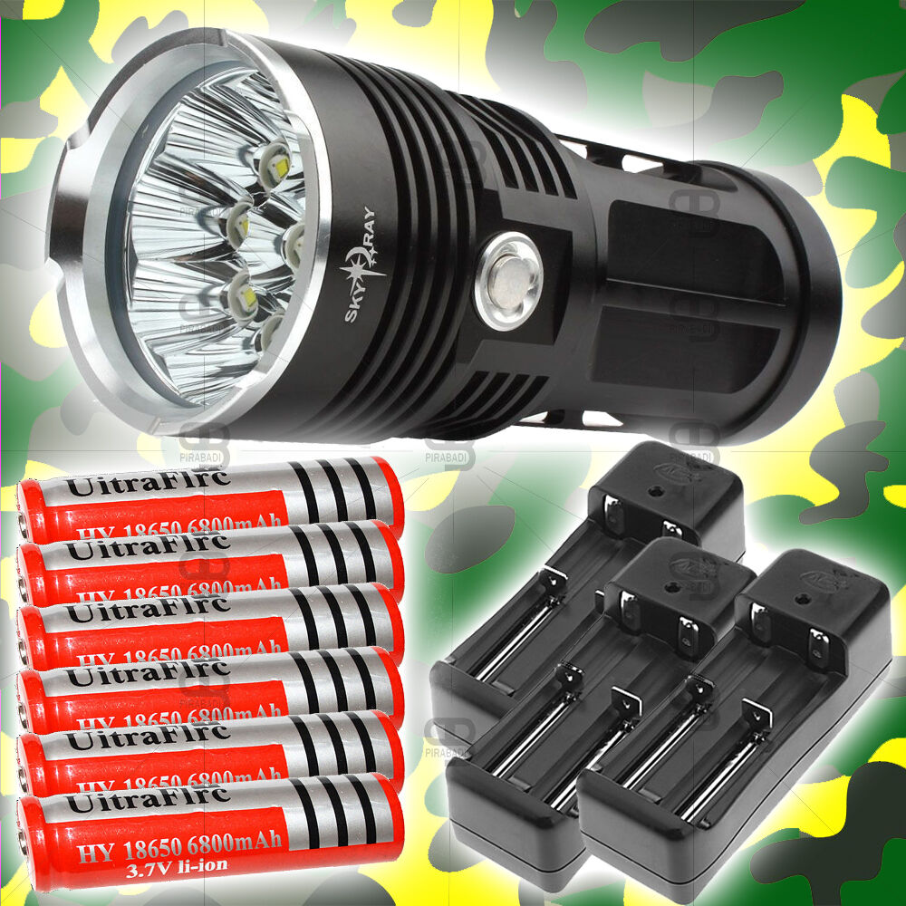 LAMPE TORCHE 12 LED 30000 LU LU 30000 Herren LED CREE FLASHLIGHT CHOC + 6 PILES & 3 CHARGEUR 08a9a3