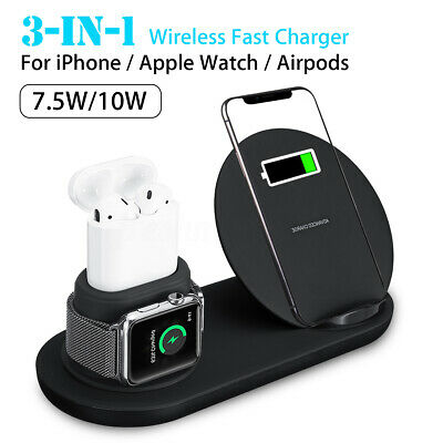 3in1 qi wireless charger pad ladestation f r airpods apple watch iphone xs x 8 ebay. Black Bedroom Furniture Sets. Home Design Ideas