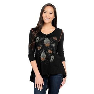 One-World-Striped-Knit-3-4-Sleeve-Embellished-Halloween-Tunic-Ghost-M-A436927