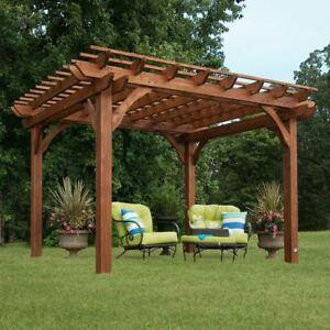 Outdoor Cedar Pergola Garden Patio Backyard Free Standing ...