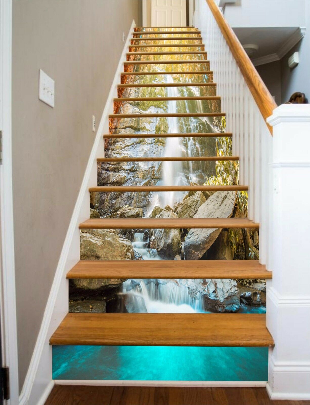 3D Stone brook 117 Stair Risers Decoration Photo Mural Vinyl Decal Wallpaper UK