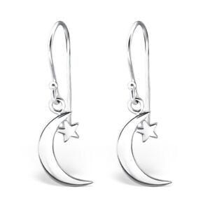 Design 2 925 Sterling Silver Star Drop//Dangle Earrings