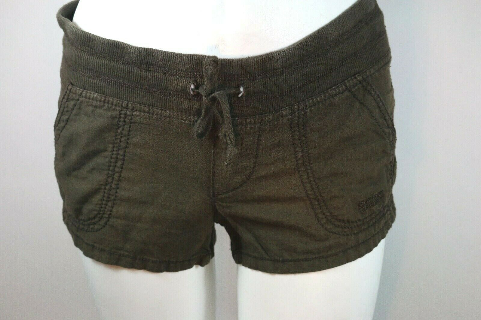 Size XS BEBE Sport Brown Shorts Women Linen Cotton Extra Small