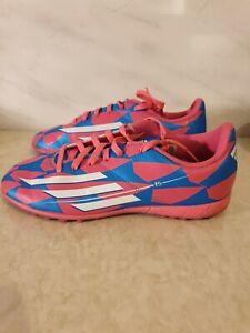 Girls Blue Pink Adidas F5 Astro Turf