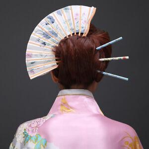 Vintage Floral Fan Hair Clip Pin Long Tassel Geisha Kimono Headpiece Costume