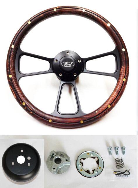 "Galaxie Torino Maverick Dark Pine Wood Black Spokes Steering Wheel 14"" Ford Cap"