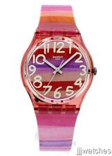 New Swatch ASTILBE Multi-Pink Stripe Plastic Band Women Watch 33mm GP140