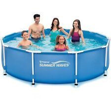 "Summer Waves 10' x 30"" Round Metal Frame Above Ground Swimming Pool"
