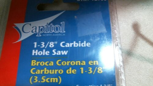 """Capitol 72706 1-3//8/"""" Carbide Hole Saw For 3//8/"""" /& 1//2/"""" Drill"""