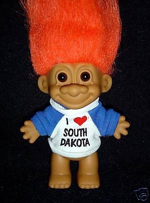 "SOUTH DAKOTA Russ Troll Doll I LOVE SOUTH DAKOTA 5/"" NEW IN ORIGINAL WRAPPER"