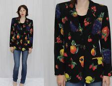 Emanuel Ungaro Paris Black FRUIT Novelty Print Silk Blazer Jacket Italy~42~M