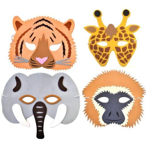 Elephant /& Tiger Monkey 4 Rainforest Safari Jungle Animal Foam Masks Giraffe