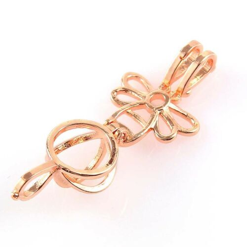 5Pc Silver//Rose Gold 3D Little Bee Pearl Beads Cage Pendant DIY Jewelry Craft