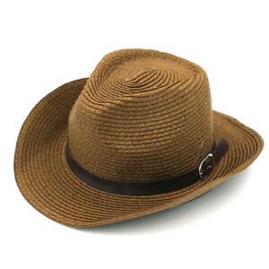 fc92833712b Men Women Wide Brim Straw Hats Cowboy Cap Cowgirl Summer Sun Hat ...