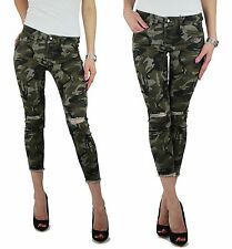 Damen Camouflage Army Militär Hose 7/8 Caprihose grüne Jeans Risse Gr.XS-XL