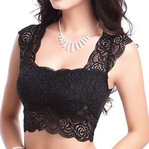 2525f29153092 Women Sexy Lace Padded Bra Bustier Bralette Blouse Vest Crop Top ...