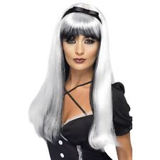 Womens Bewitching Wig Silver & Black Halloween Long Straight Witch Fancy Dress