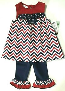 Toddler-Girl-Bonnie-Jean-4th-of-July-2-Pc-Set-Outfit-Red-White-Blue-2T-or-3T-New