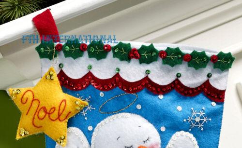 "Bucilla Snow Angel ~ 18/"" Felt Christmas Stocking Kit #86646 Snowman Nativity"