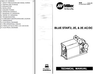 MILLER BLUE STAR 2 2E 2E AC//DC  SERVICE TECHNICAL MANUAL